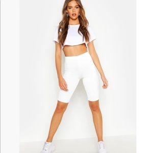 Boohoo Double Layer High Waist White Biker Shorts